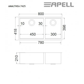 Apell Amalthea 7425 Ανοξείδωτος Λείος Υποκαθήμενος Νεροχύτης Με 2 Γούρνες 80x41,8 cm