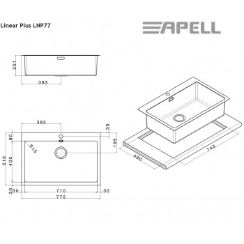 Apell Linear Plus LNP77 77x51 cm Inox Λείος Ένθετος Νεροχύτης