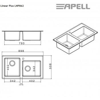 Apell Linear Plus LNP862 90x51 cm Inox Λείος Ένθετος Νεροχύτης