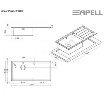 Apell Linear Plus LNP1001 L Ανοξείδωτος Λείος Ένθετος Νεροχύτης Με 1 Γούρνα Και Ποδιά Αριστερά 100x50 cm