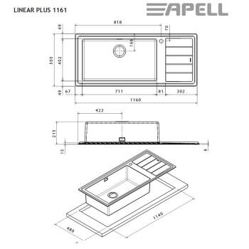 Apell Linear Plus LNP1161 L Ανοξείδωτος Λείος Ένθετος Νεροχύτης Με 1 Γούρνα Και Ποδιά Αριστερά 116x50 cm