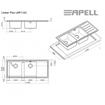 Apell Linear Plus LNP1162 L 117x51 cm Inox Λείος Ένθετος Νεροχύτης Ποδιά Αριστερά