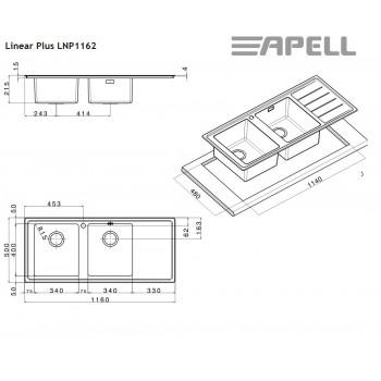 Apell Linear Plus LNP1162 R 117x51 cm Inox Λείος Ένθετος Νεροχύτης Ποδιά Δεξιά