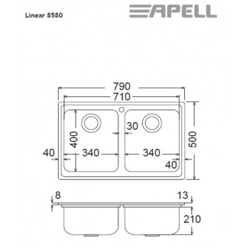 Apell Linear 8580 79x50 cm Inox Σαγρέ Ένθετος Νεροχύτης