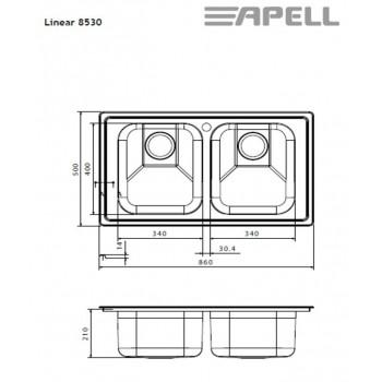 Apell Linear 8530 Ανοξείδωτος Λείος Ένθετος Νεροχύτης Με 2 Γούρνες 86x50 cm