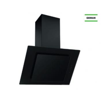 Geman 31100113 Μαύρο Γυαλί Καμινάδα Τοίχου Με 1 Μοτέρ 60 cm