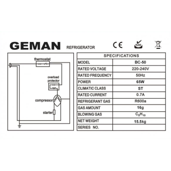 Geman 31200000 Λευκός Ελεύθερος Ψυγειοκαταψύκτης Ενεργειακή Κλάση Α+