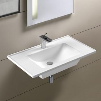 Serel Slim 3035 Hygiene Plus Λευκός Πορσελάνινος Νιπτήρας Μπάνιου Κρεμαστός ή Επικαθήμενος Επίπλου 80x46 cm