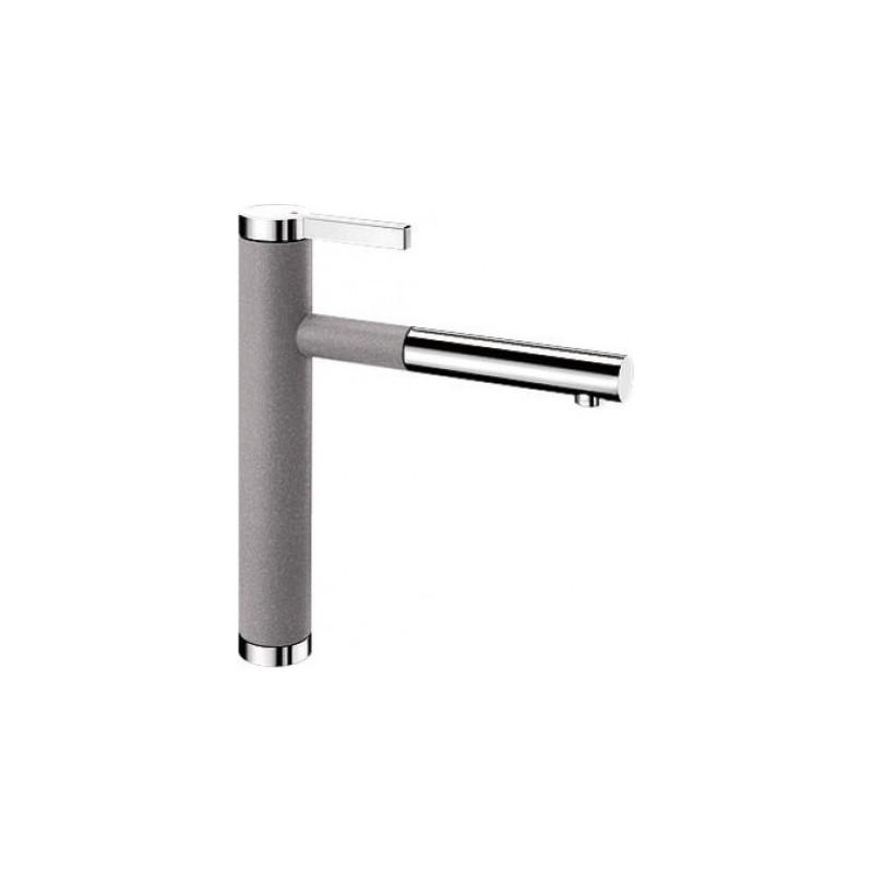 Blanco Linee-S Alu Metallic-Chrome Μπαταρία Κουζίνας με Περιστρεφόμενο Ρουξούνι και Αποσπώμενο Ντους