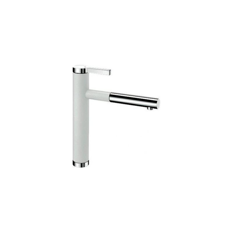 Blanco Linee-S White-Chrome Μπαταρία Κουζίνας με Περιστρεφόμενο Ρουξούνι και Αποσπώμενο Ντους