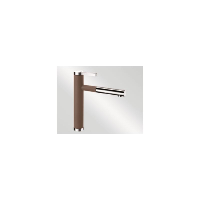 Blanco Linee-S Nutmeg-Chrome Μπαταρία Κουζίνας με Περιστρεφόμενο Ρουξούνι και Αποσπώμενο Ντους