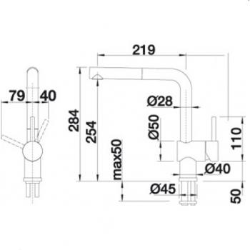 Blanco Linus-S Chrome Μπαταρία Κουζίνας με Περιστρεφόμενο Ρουξούνι και Μεταλλικό Αποσπώμενο Ντους