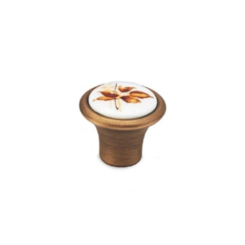 Convex 493 Ματ Αντικέ/Καφέ Ανθός Πόμολο Επίπλου