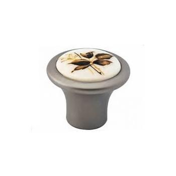 Convex 493 Σατέν Νίκελ/Καφέ Ανθός Πόμολο Επίπλου
