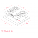 Teka EFX 60 4G AI AL Inox Εστία Γκαζιού 60cm