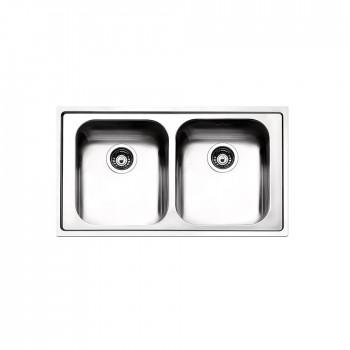 Apell Venezia 8330 Ανοξείδωτος Λείος Ένθετος Νεροχύτης Με 2 Γούρνες 86x50 cm