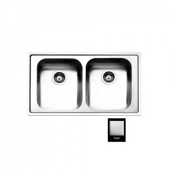Apell Venezia 8330 Ανοξείδωτος Σαγρέ Ένθετος Νεροχύτης Με 2 Γούρνες 86x50 cm