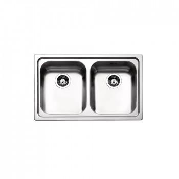 Apell Venezia 8380 Ανοξείδωτος Λείος Ένθετος Νεροχύτης Με 2 Γούρνες 79x50 cm
