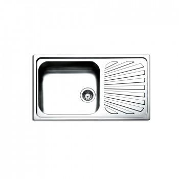 Apell Venezia 8310 Ανοξείδωτος Λείος Ένθετος Νεροχύτης Αντιστρεφόμενος Με 1 Γούρνα και Ποδιά 86x50 cm