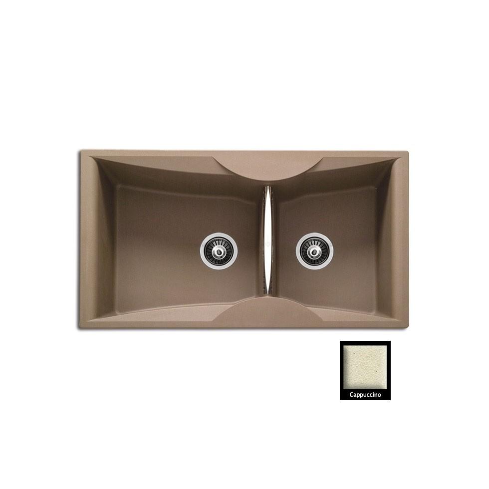 Carron ZX 3200 94x51,5cm Cappuccino Ένθετος Γρανιτένιος Νεροχύτης Με 2 Γούρνες