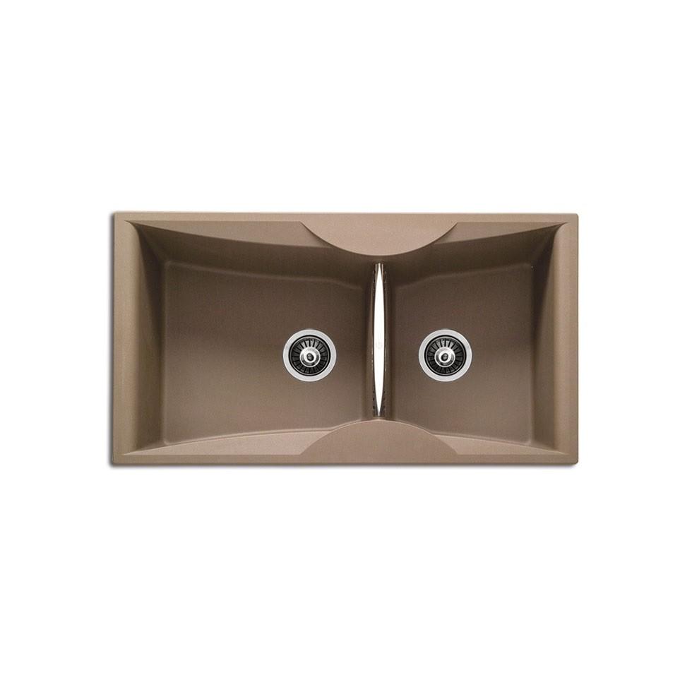 Carron ZX 3200 94x51,5cm Espresso Ένθετος Γρανιτένιος Νεροχύτης Με 2 Γούρνες