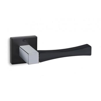 Convex 835 Ματ Μαύρο/Χρώμιο Πόμολο Πόρτας-Ροζέτα