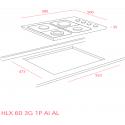 Teka HLX 60 3G 1P AI AL Inox Μεικτή Εστία Γκαζιού & Ηλεκτρική 58cm