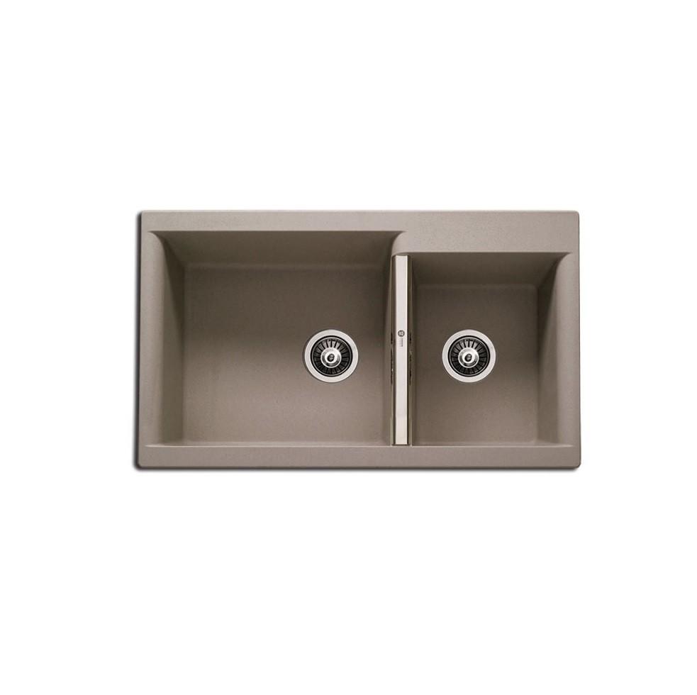 Carron Java 4205 86x51cm Oyster Metallic Ένθετος Γρανιτένιος Νεροχύτης Με 2 Γούρνες