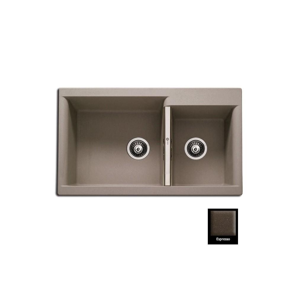 Carron Java 4205 86x51cm Espresso Ένθετος Γρανιτένιος Νεροχύτης Με 2 Γούρνες